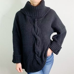 Talbots Black Chunky Cable Knit Wool Sweater E1